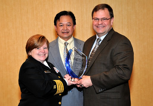 Award Winner 3M From L to R: CAPT. Margaret Kitt (NIOSH), Hendra Harapan (3M) and Dan Westrum (3M)