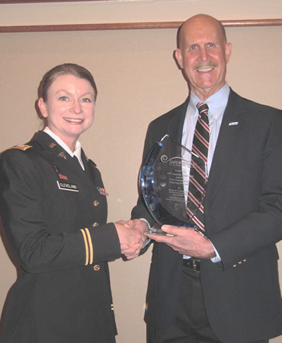 CPT Cleveland, Dr. John Howard (NIOSH) presenting SIS Award. Photo courtesy of Rick Neitzel