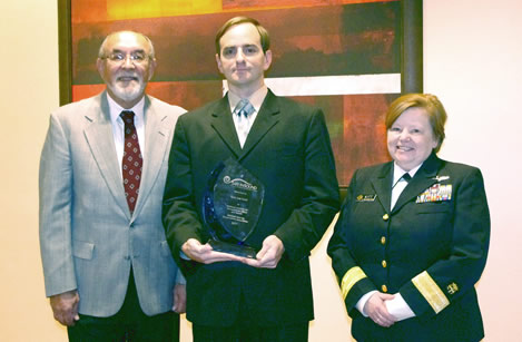 From left to right: James Jerome (NHCA President), Deputy Sheriff Ryan Lee Scott (Alachua County Sheriff's Office, FL) and RADM. Margaret Kitt (Deputy Director, NIOSH).